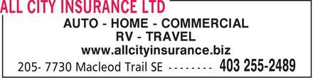 All City Insurance Ltd (403-255-2489) - Annonce illustrée======= - AUTO - HOME - COMMERCIAL RV - TRAVEL www.allcityinsurance.biz