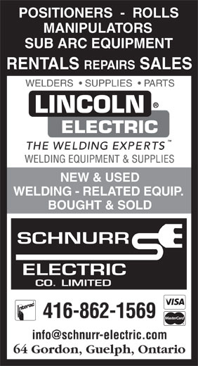 Schnurr Electric Co Ltd (416-862-1569) - Annonce illustrée======= -