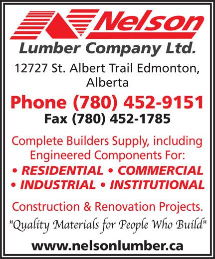 Nelson Lumber Co Ltd (780-452-9151) - Display Ad -