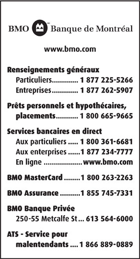 BMO Banque De Montréal (1-877-225-5266) - Annonce illustrée======= -