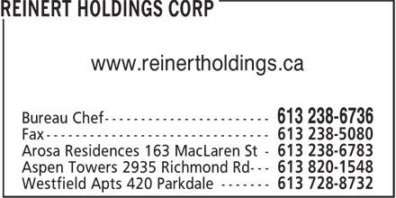 Reinert Holdings Corp (613-238-6736) - Annonce illustrée======= - www.reinertholdings.ca