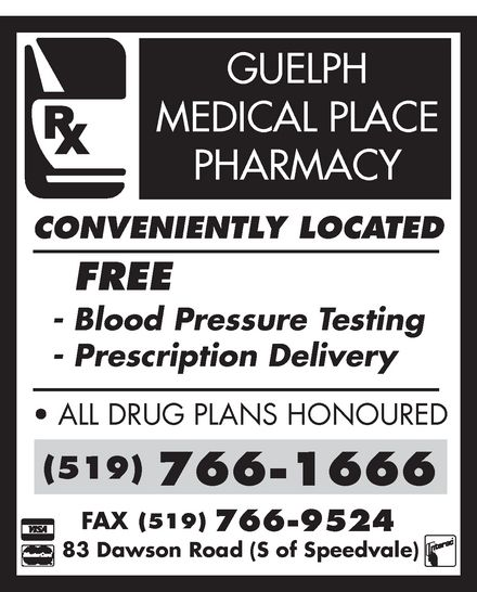 Guelph Medical Place Pharmacy (519-766-1666) - Display Ad -