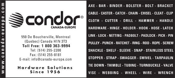 Canada-Europe (Condor) Ltée (514-255-2200) - Annonce illustrée======= -
