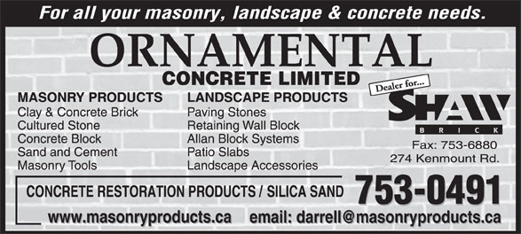 Ornamental Concrete Limited (709-753-0491) - Display Ad -