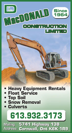 MacDonald D L Construction Ltd (613-932-3173) - Display Ad -
