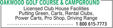 Oakwood Golf Course and Campground (204-422-8045) - Display Ad -