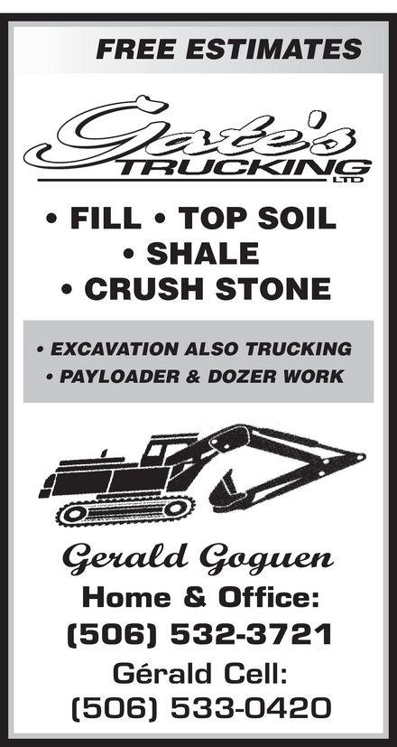 Gates Trucking Ltd (506-533-0420) - Display Ad -