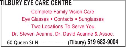 Tilbury Eye Care Centre (519-682-9004) - Display Ad -