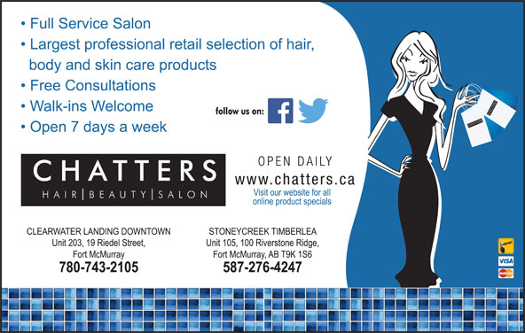 Chatters Salon (780-743-2105) - Display Ad - SH SALO UT TTER BE AIR SSALO NCH CHATTER