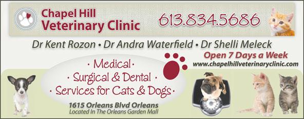 Chapel Hill Veterinary Clinic (613-834-5686) - Annonce illustrée======= - www.chapelhillveterinaryclinic.com