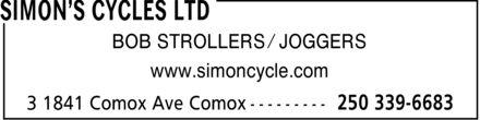 Simon's Cycles Ltd (250-339-6683) - Display Ad - BOB STROLLERS ¿ JOGGERS www.simoncycle.com