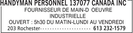 Handyman Personnel (613-232-1579) - Annonce illustrée======= - FOURNISSEUR DE MAIN-D'OEUVRE INDUSTRIELLE OUVERT : 5h30 DU MATIN-LUNDI AU VENDREDI