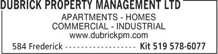 Dubrick Property Management Ltd (519-578-6077) - Display Ad -