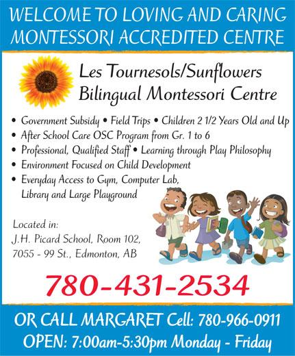 Les Tournesols-Sunflowers Bilingual Montessori Centre (780-431-2534) - Annonce illustrée======= -