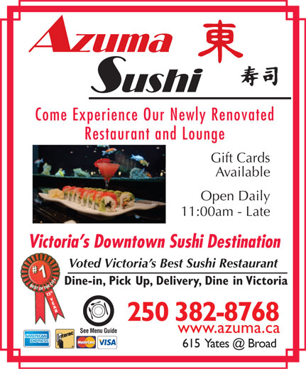 Azuma Japanese Restaurant for Gluten Free in Victoria
