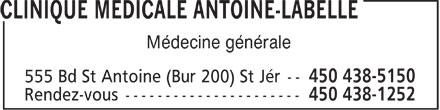 Clinique Médicale Antoine-Labelle (450-438-5150) - Annonce illustrée======= - Médecine générale
