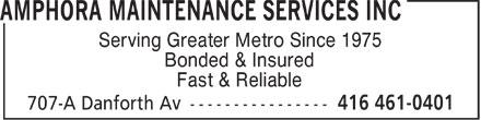 Amphora Maintenance Services Inc (416-461-0401) - Annonce illustrée======= - Serving Greater Metro Since 1975 Bonded & Insured Fast & Reliable  Serving Greater Metro Since 1975 Bonded & Insured Fast & Reliable  Serving Greater Metro Since 1975 Bonded & Insured Fast & Reliable  Serving Greater Metro Since 1975 Bonded & Insured Fast & Reliable