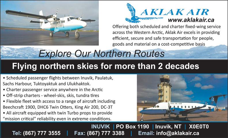 Aklak Air (867-777-3555) - Annonce illustrée======= -
