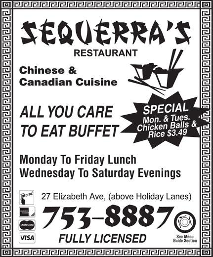 Sequerra's Restaurant (709-753-8887) - Display Ad -