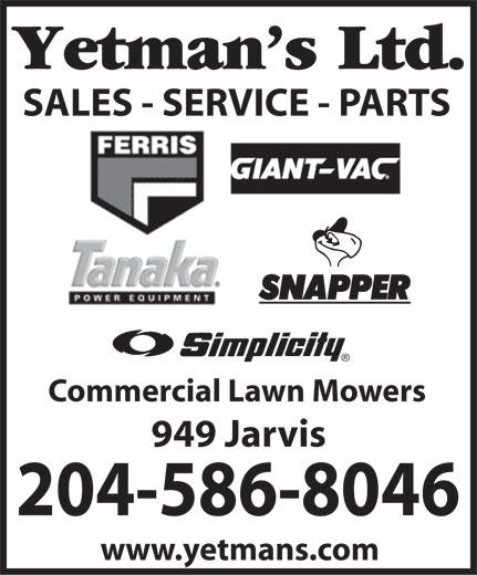Yetmans Ltd (204-586-8046) - Display Ad -
