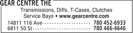 The Gear Centre (780-466-4646) - Annonce illustrée======= - Transmissions, Diffs, T-Cases, Clutches Service Bays • www.gearcentre.com