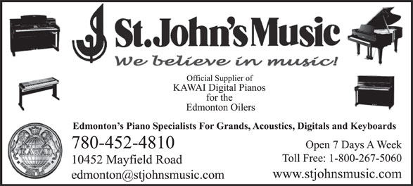 St John's Music (780-452-4810) - Display Ad -