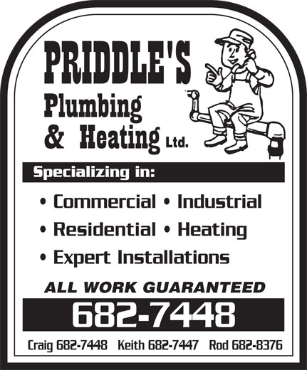 Priddle's Plumbing and Heating (709-682-7448) - Annonce illustrée======= -
