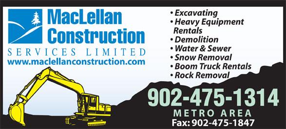 MacLellan Construction Services Limited (902-475-1314) - Annonce illustrée======= -