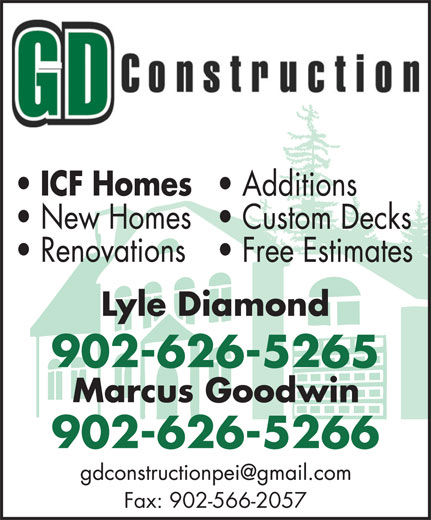GD Construction (902-626-5266) - Display Ad - 902-626-5265 902-626-5266 Fax: 902-566-2057