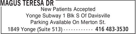 Magus Teresa Dr (416-483-3530) - Annonce illustrée======= - New Patients Accepted Yonge Subway 1 Blk S Of Davisville Parking Available On Merton St.  New Patients Accepted Yonge Subway 1 Blk S Of Davisville Parking Available On Merton St.  New Patients Accepted Yonge Subway 1 Blk S Of Davisville Parking Available On Merton St.  New Patients Accepted Yonge Subway 1 Blk S Of Davisville Parking Available On Merton St.