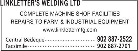 Linkletter's Welding Ltd (902-887-2522) - Annonce illustrée======= - COMPLETE MACHINE SHOP FACILITIES REPAIRS TO FARM & INDUSTRIAL EQUIPMENT www.linklettermfg.com