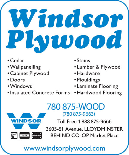 Windsor Plywood (780-875-9663) - Annonce illustrée======= -