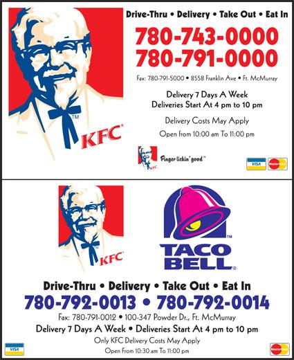 KFC (780-743-0000) - Annonce illustrée======= -