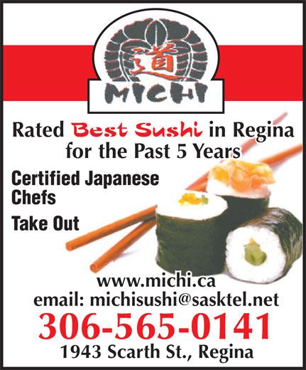 Michi Japanese Restaurant & Sushi Bar (306-565-0141) - Annonce illustrée======= -