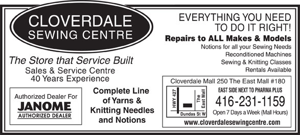 Ads Cloverdale Sewing Centre
