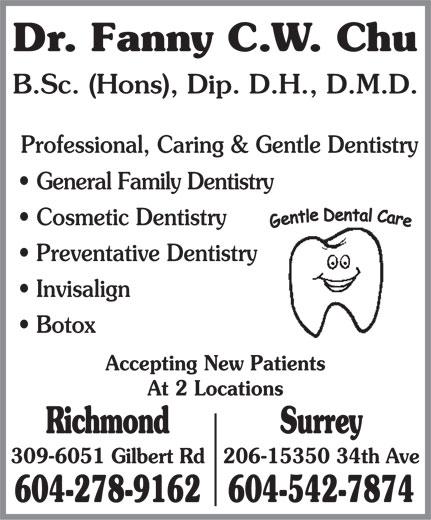 Chu Fanny C W Dr (604-278-9162) - Display Ad -