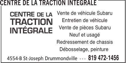 Centre de la Traction Intégrale (819-472-1456) - Display Ad - Entretien de véhicule Vente de véhicule Subaru Neuf et usagé Redressement de chassis Débosselage, peinture Vente de pièces Subaru