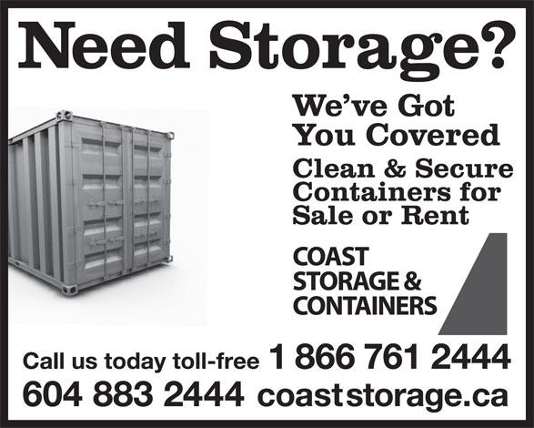 Coast Storage & Containers (604-883-2444) - Annonce illustrée======= -