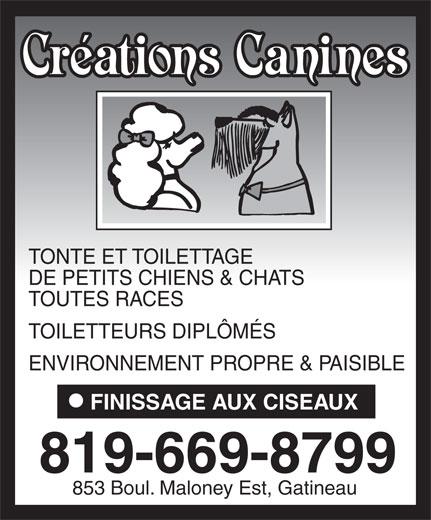 Créations Canines (819-669-8799) - Annonce illustrée======= - TONTE ET TOILETTAGE DE PETITS CHIENS & CHATS TOUTES RACES TOILETTEURS DIPLÔMÉS ENVIRONNEMENT PROPRE & PAISIBLE FINISSAGE AUX CISEAUX 819-669-8799 853 Boul. Maloney Est, Gatineau