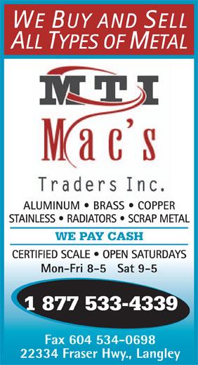 Mac's Traders Inc (604-533-4339) - Annonce illustrée======= -