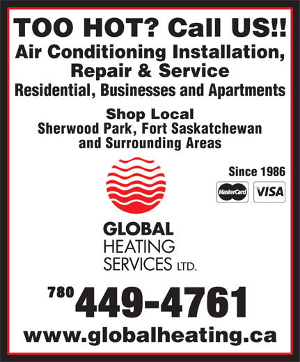 Global Heating Services Ltd (780-449-4761) - Annonce illustrée======= -