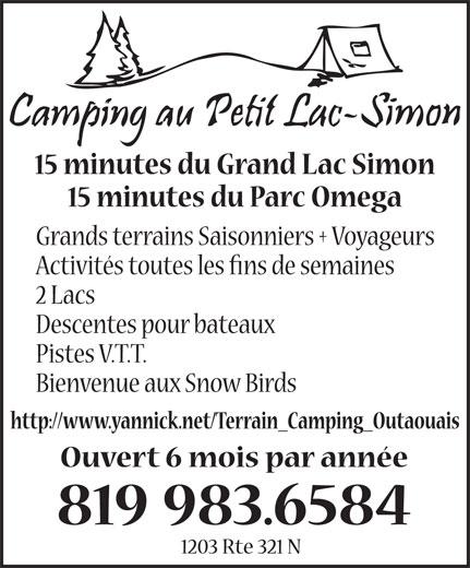 Camping au Petit Lac Simon Enr (819-983-6584) - Annonce illustrée======= -