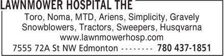 The Lawnmower Hospital (780-437-1851) - Annonce illustrée======= - Toro, Noma, MTD, Ariens, Simplicity, Gravely Snowblowers, Tractors, Sweepers, Husqvarna www.lawnmowerhosp.com