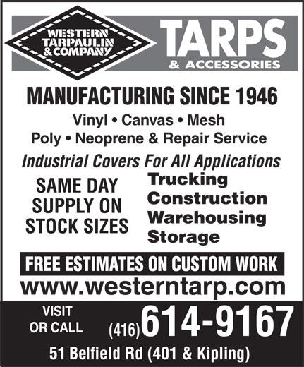 Western Tarpaulin Amp Company 51 Belfield Rd Toronto On