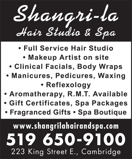 Shangri-La Hair Spa & Clinical Procedures (519-650-9100) - Annonce illustrée======= -