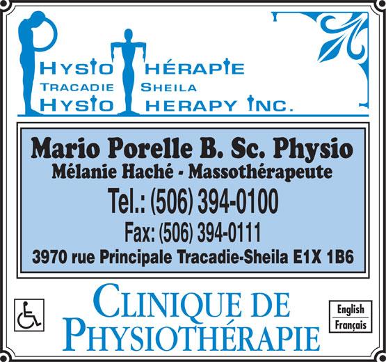 Physiothérapie Tracadie-Sheila Physiotherapy Inc (506-394-0100) - Annonce illustrée======= -