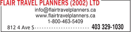 Flair Travel Planners (2002) Ltd (403-329-1030) - Annonce illustrée======= -