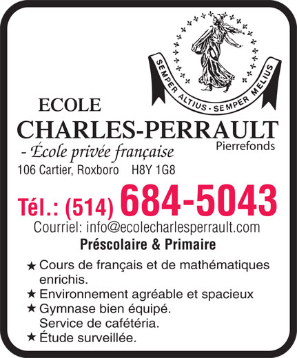 Ecole Charles-Perrault (Pierrefonds) (514-684-5043) - Display Ad -