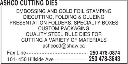 Ashco Cutting Dies (250-478-3643) - Display Ad -