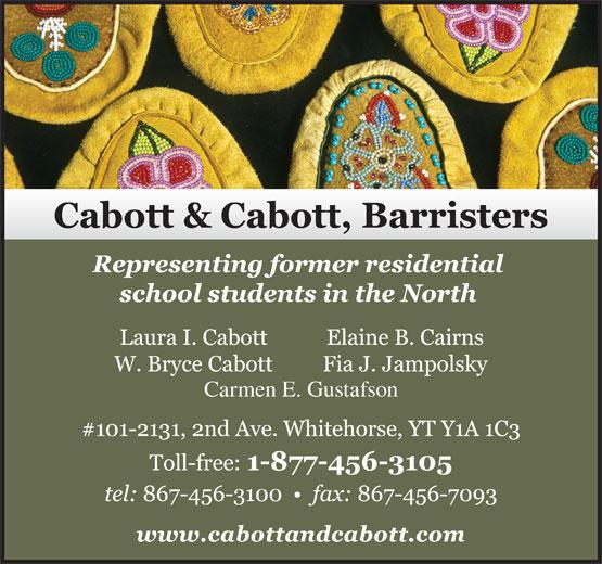 Cabott & Cabott Barristers (867-456-3100) - Annonce illustrée======= - Carmen E. Gustafson